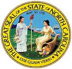 The Great Seal for the State of North Carolina, in colors of yellow, green, blue, white with black lettering